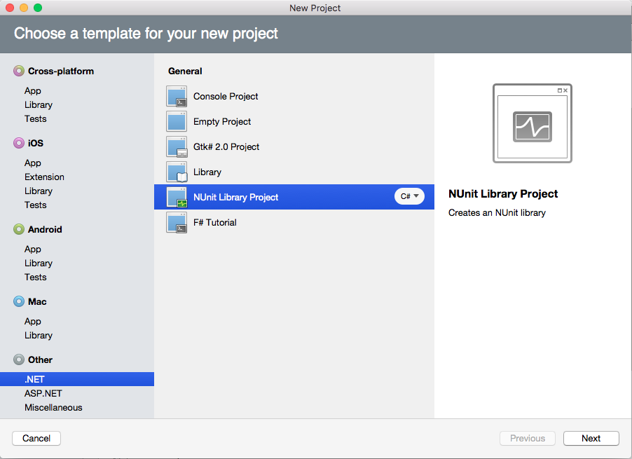 NUnit Xamarin Studio project template